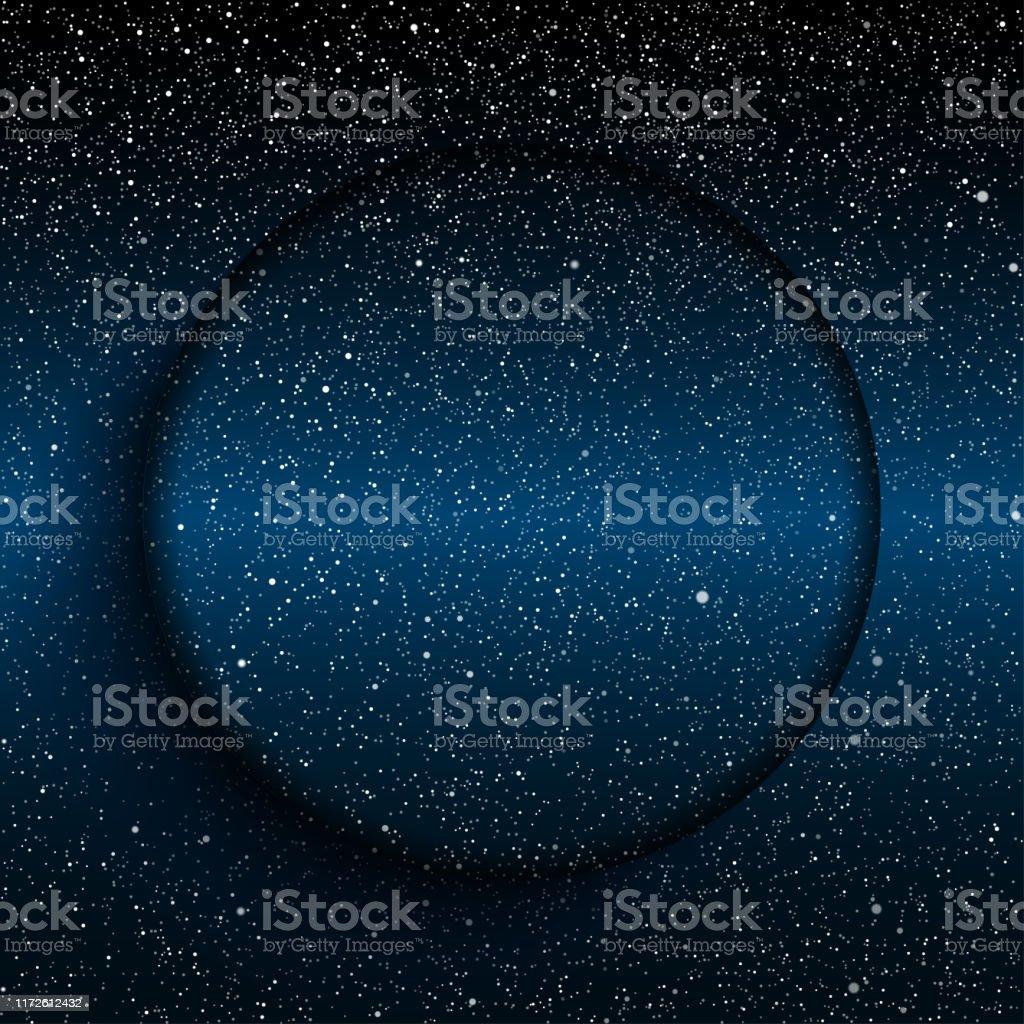 青い暗い夜空に明るい星円の背景バナー壁紙カード背景 からっぽのベクターアート素材や画像を多数ご用意 Istock