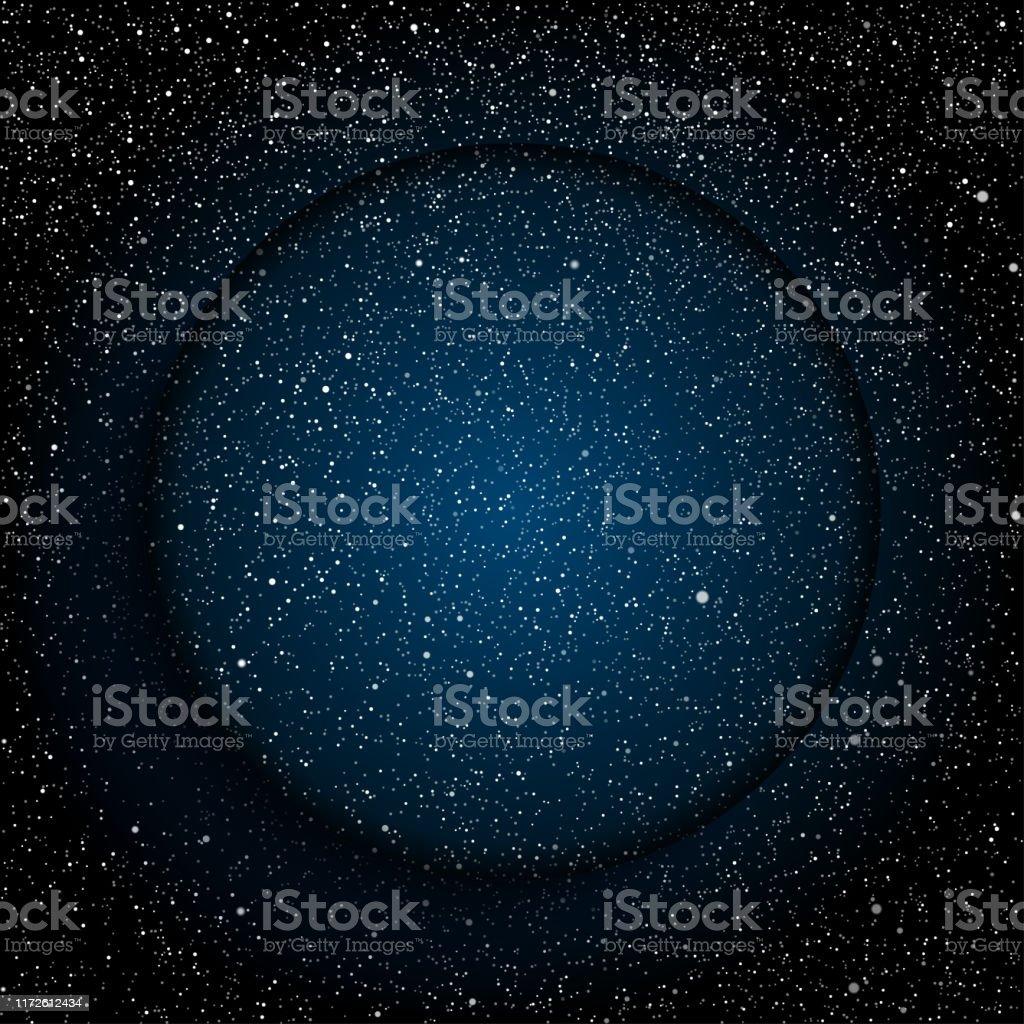 青い暗い夜空に明るい星円の背景バナー壁紙カード背景 からっぽの