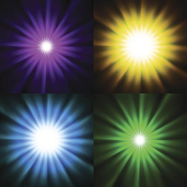 illustrazioni stock, clip art, cartoni animati e icone di tendenza di stella luminosa della luce di sfondo - flare