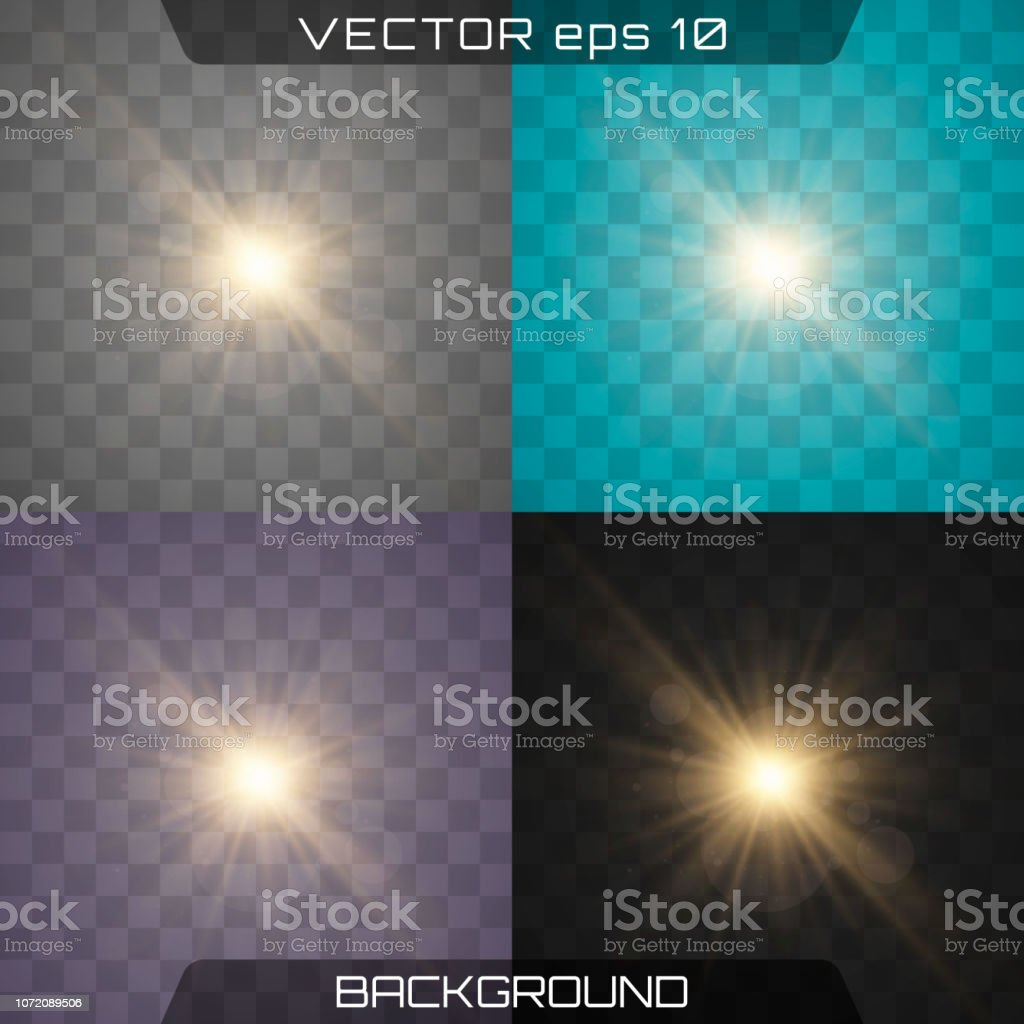 White glowing light explodes on a transparent background. Sparkling...