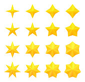 Collection of bright different golden stars. Vector, isolated