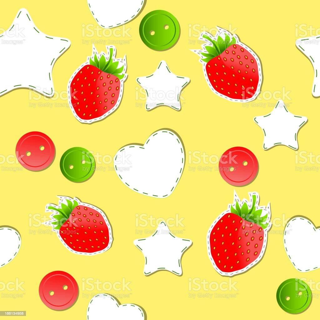 Bright strawberry cute wallpaper seamless pattern royalty-free stock vector art
