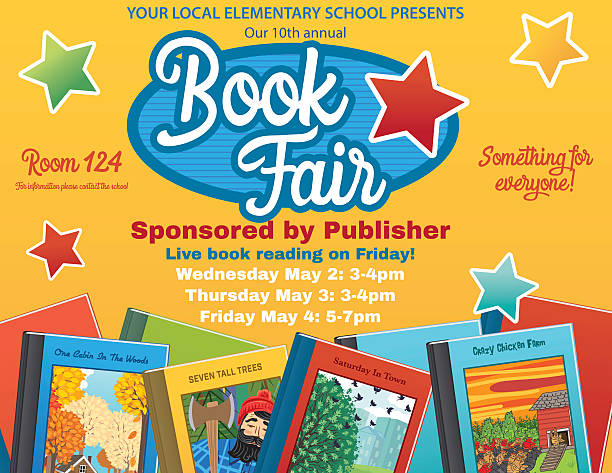 Bright Style Children's Book Fair or Sale Invitation Poster Bright Retro Style Children's Book Fair or sale Invitation Poster.  There is an assortment of books along the bottom with a big section for text in the center. Includes star ornaments. Several layers for easier editing. Yellow background book club stock illustrations