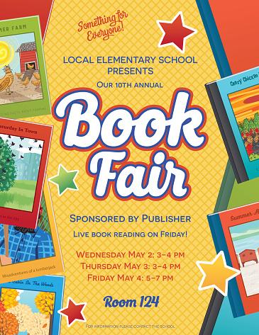 Bright Style Children's Book Fair or Sale Invitation Poster