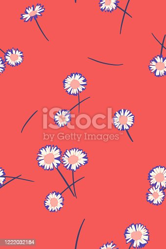 istock Bright summer background. Seamless pattern made of meadow daisies. Scattered flowers. 1222032184