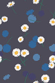 Daisies background. Small daisy flowers seamless pattern. Gentle floral illustration. Trendy flat drawing. Good for textile, fabric, wallpaper, bedding, clothes, wrapper, surface
