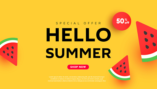 Bright summer discount sale banner background with ripe watermelon slices pattern on yellow background with copy space for store marketing promotion.