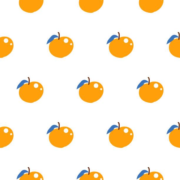 illustrazioni stock, clip art, cartoni animati e icone di tendenza di bright summer juicy peach cartoon seamless pattern - pesche bambino