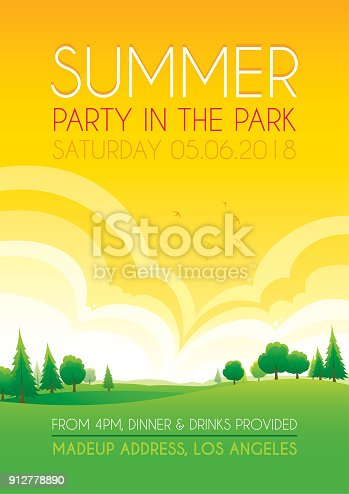 Bright summer party in the park vector background design