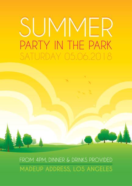 bildbanksillustrationer, clip art samt tecknat material och ikoner med ljusa sommaren park bakgrund - naturparksområde