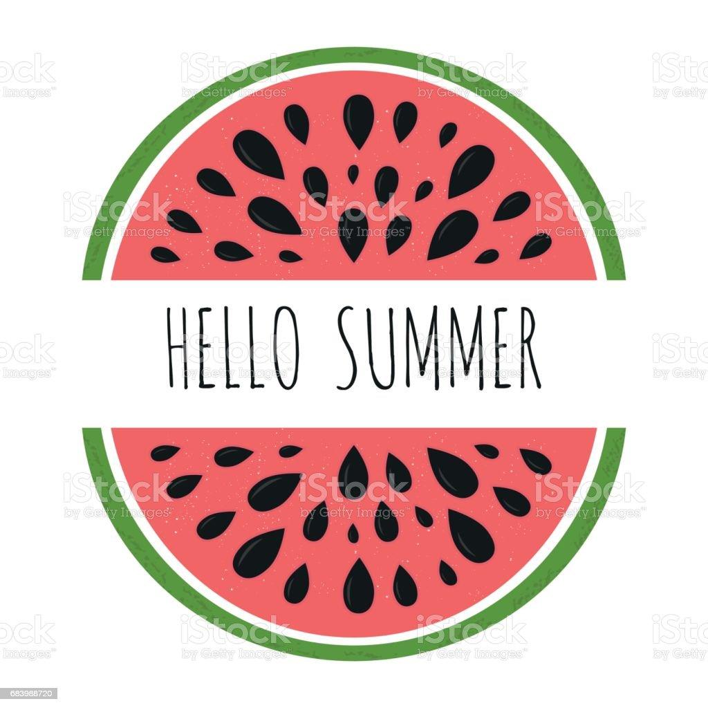 Bright summer postcard with hand drawn letterind and watermelon - illustrazione arte vettoriale