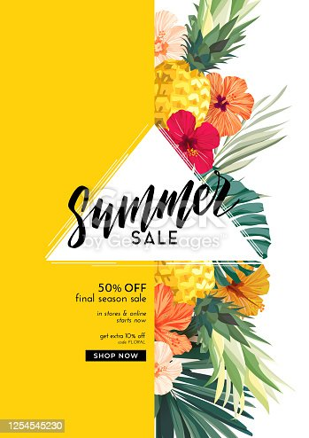 istock Bright summer poster with exotic palm leaves, plants, pineapples and hibiscus flowers. Copy space, vector flyer or banner design. 1254545230