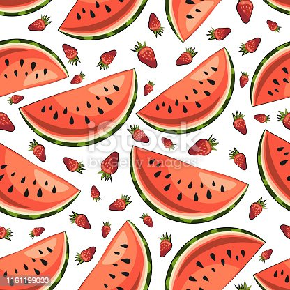 Bright summer vector seamless pattern: slices of juicy watermelon and strawberries. Сlipart in red and green color on a white background. Template for your design. Packaging. Textile. T-shirt printing