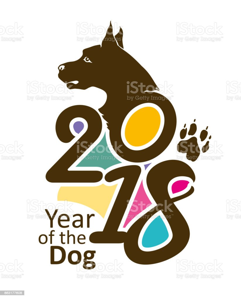 Bright template 2018. Year of the Dog. vector art illustration