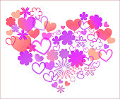 Pink translucent heart, composed of multicolored rainbow flowers for the day of St. Valentine