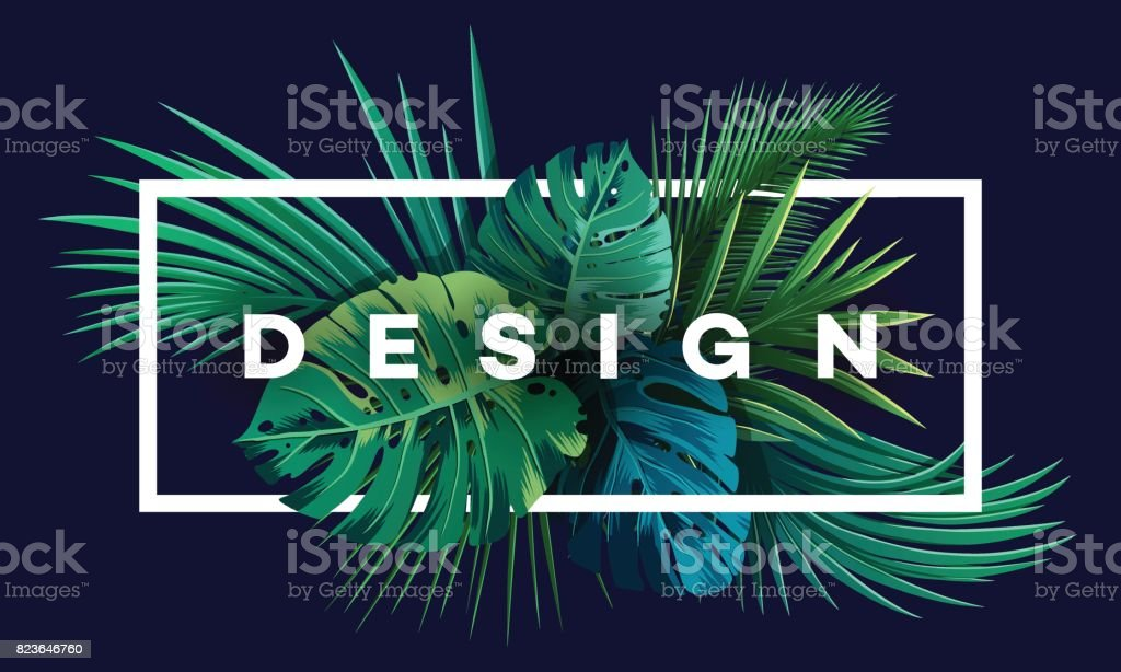 Bright tropical background with jungle plants. Exotic pattern with palm leaves. royalty-free bright tropical background with jungle plants exotic pattern with palm leaves stock illustration - download image now