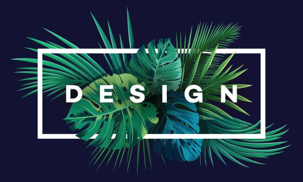 Bright tropical background with jungle plants. Exotic pattern with palm leaves. Bright tropical background with jungle plants. Vector exotic pattern with palm leaves. tropical flower stock illustrations