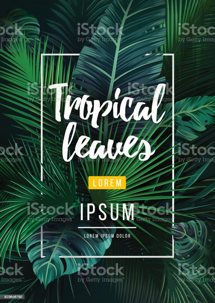 Bright tropical background with jungle plants. Exotic pattern with palm leaves royalty-free bright tropical background with jungle plants exotic pattern with palm leaves stock illustration - download image now