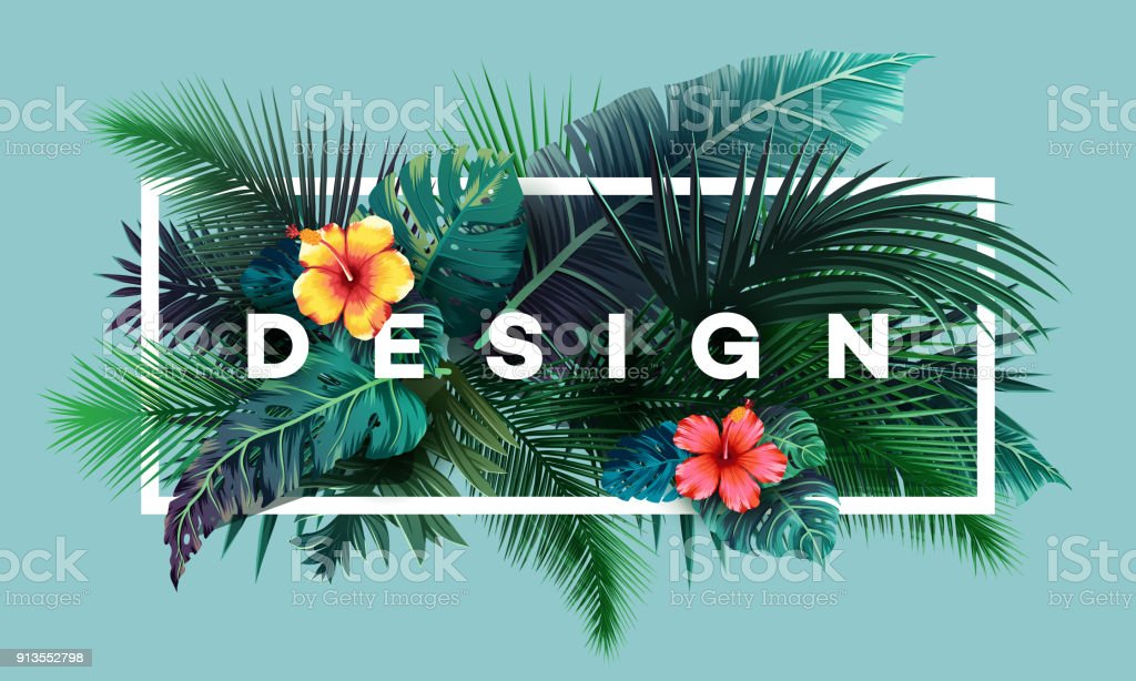 Bright tropical background with jungle plants. Exotic pattern with palm leaves - Royalty-free Art stock vector