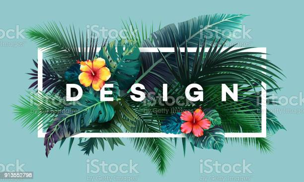 Bright Tropical Background With Jungle Plants Exotic Pattern With Palm Leaves Stock Illustration - Download Image Now
