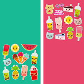 Bright tropical card design, fashion patches badges stickers. Applicable for Banners, Posters. Exotic pineapple, bubble tea cup, ice cream, cake, sunglasses Kawaii cute cat, hamster, sun. Vector
