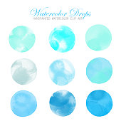 Bright Turquoise Blue and Green Watercolor Circle Splashes Set Isolated on White Background. Turquoise Colored Ink Patches Set. Watercolor Circles or Spots Collection. Design Element for Greeting Cards and Labels, Abstract Background.