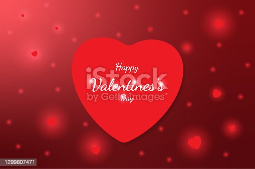 """istock Bright Valentine`s day background, small hearts, in red colors""""nVector illustration. Cute love banner or greeting card. Place for text 1299607471"""