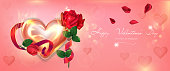 istock Bright Valentine's Day banner with glowing heart and roses. The illustration in gentle shades of pink is perfect for poster, banner, postcard, web banner. Vector illustration 1300964831