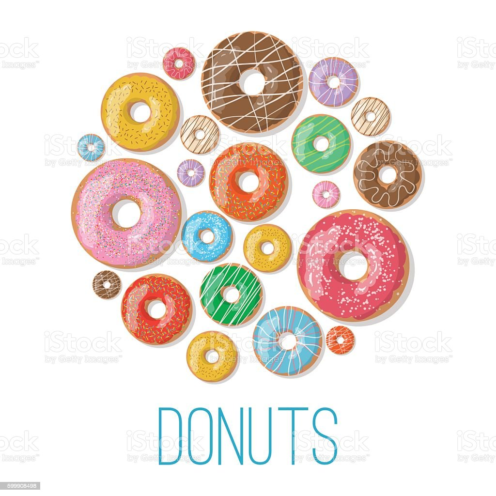 Bright vector banners with donuts illustration vector art illustration