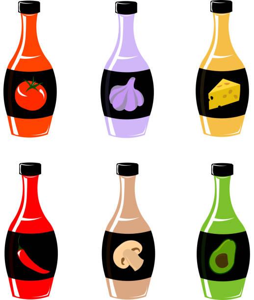 Bright vector bottles. Bright vector bottles. Sauces. Menu design. tomato sauce stock illustrations