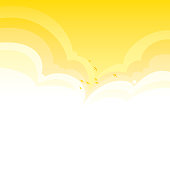 Bright yellow summer clouds vector background with birds