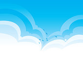 Bright blue summer clouds vector background with birds