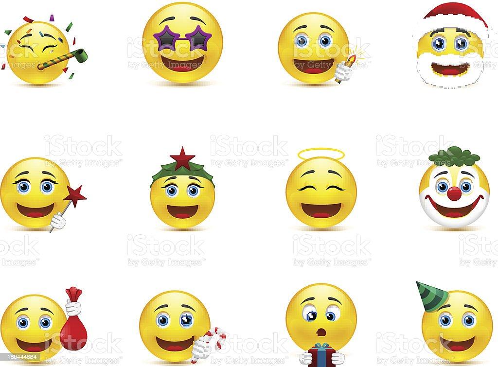 Bright vector emoticons with holiday attributes vector art illustration