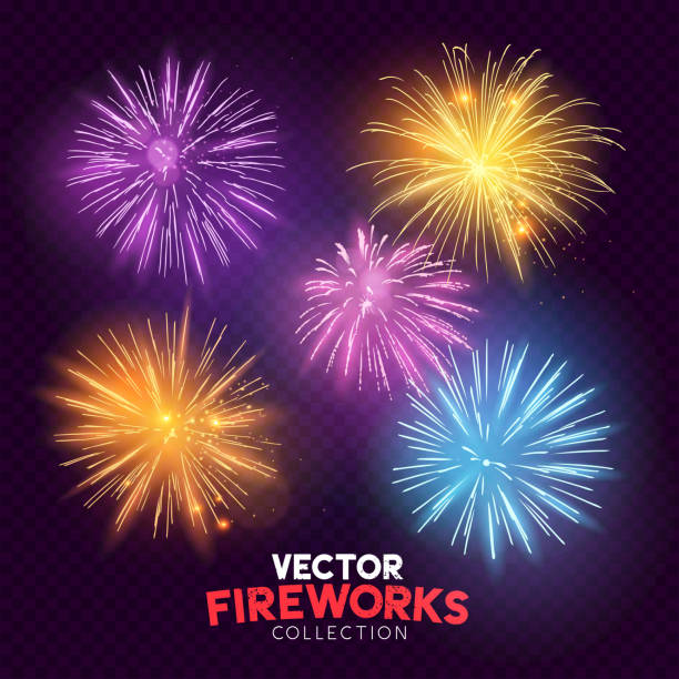 bright vector fireworks - fourth of july stock illustrations