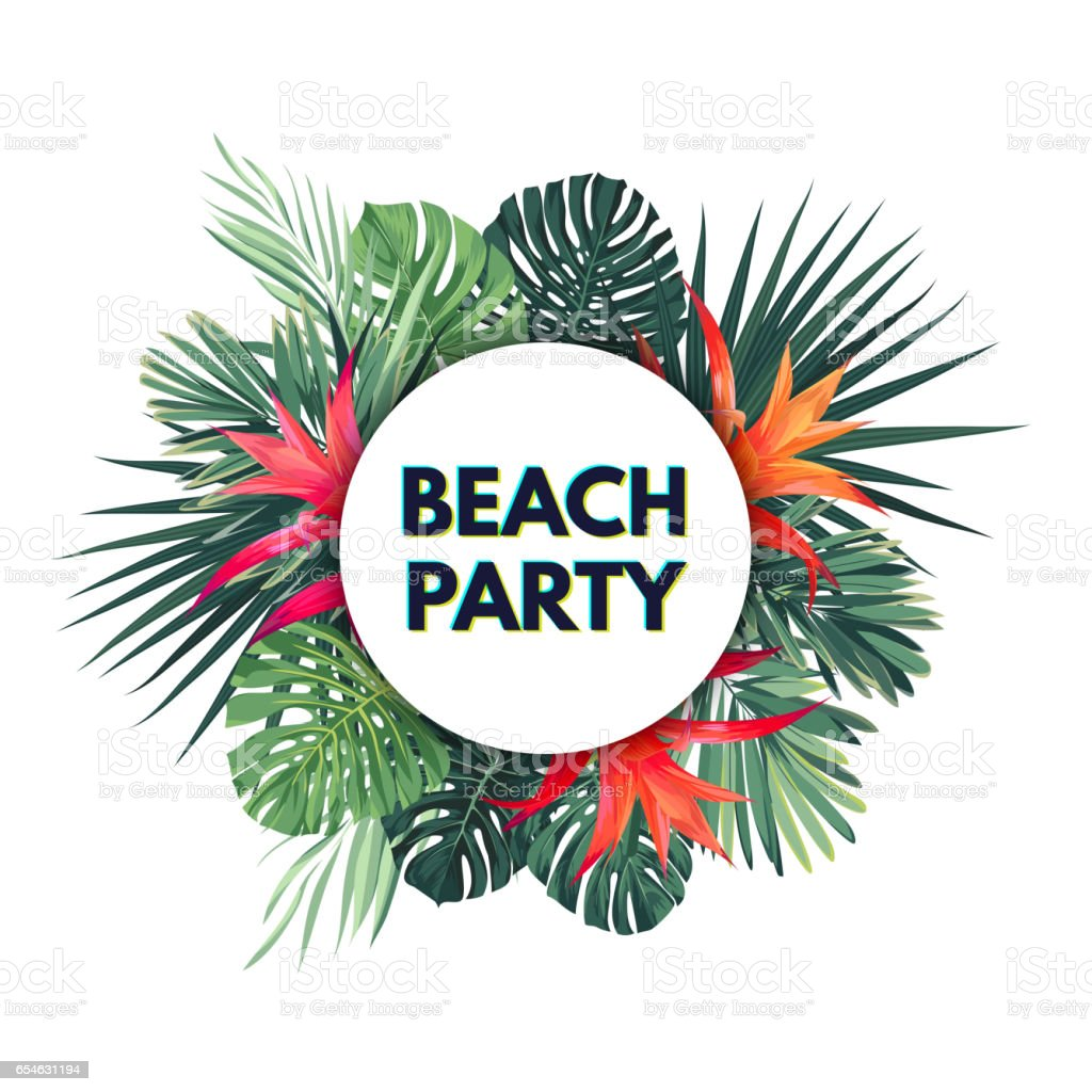 Bright vector floral banner template for summer beach party. Tropical flyer with green exotic palms and red flowers vector art illustration