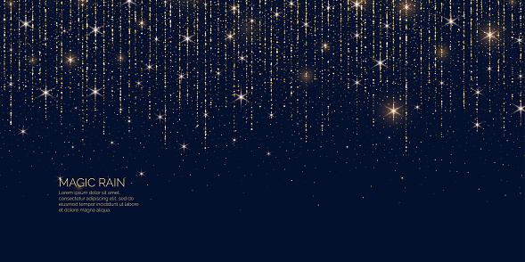 Bright vector illustration Magic rain of sparkling glittery particles lines. clipart
