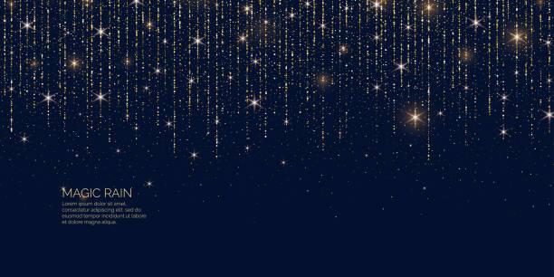 яркая векторная иллюстрация волшебный дождь сверкающих блестящих линий частиц. - блестящий stock illustrations