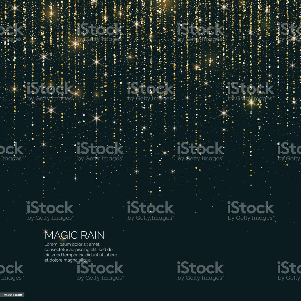 Bright vector illustration Magic rain of sparkling glittery particles lines vector art illustration