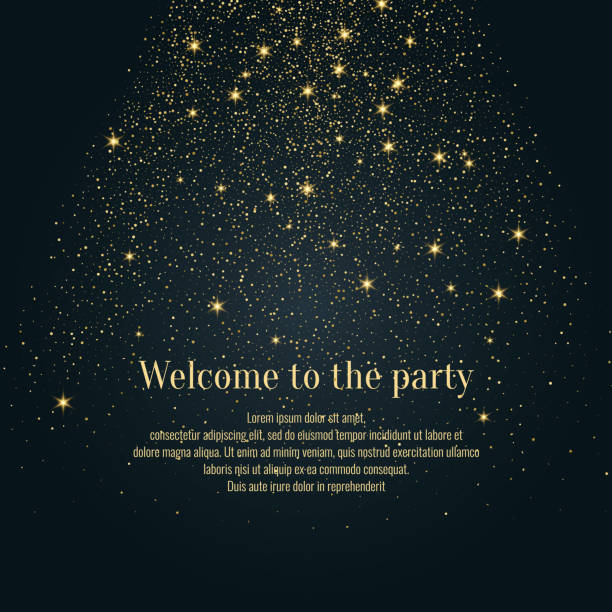 Bright vector illustration Magic rain of sparkling glittery particles lines Bright vector illustration Magic snowfall of sparkling glittery particles lines on a dark background. celebrities stock illustrations