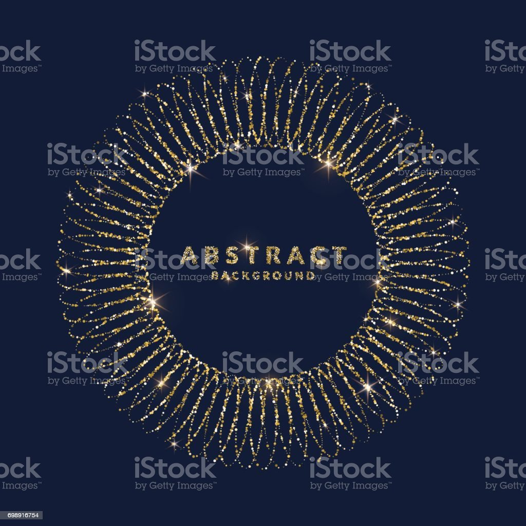 Bright vector illustration with circle frame from glitter and place for text