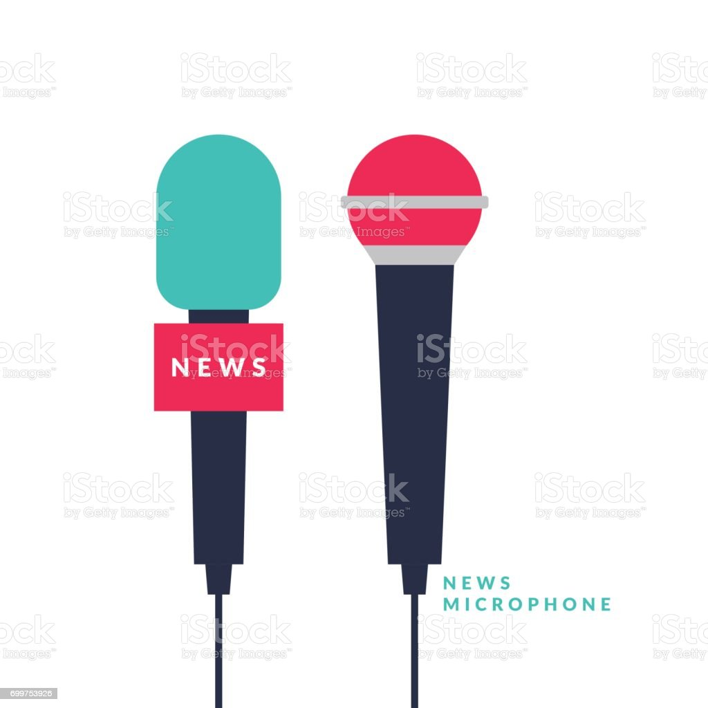 Bright vector poster with news microphones and a field for text on bright background. Vector illustration in flat style vector art illustration
