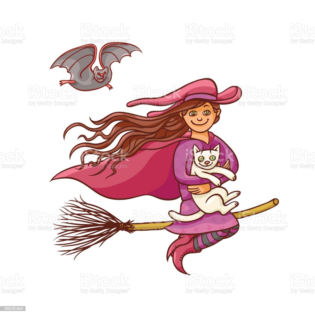 bright vector pretty good girl witch on broom with white cat