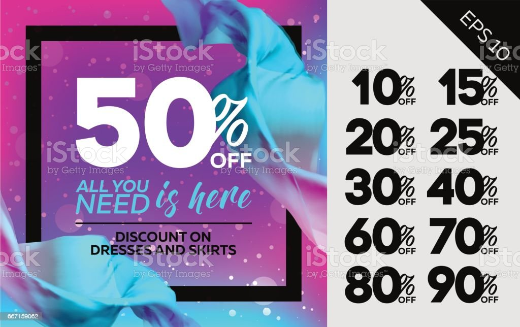 bright vector sale template with flying silk advertising for cloth