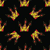 Bright vector seamless abstract hand-drawn pattern with crowns.