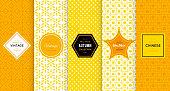 Bright yellow seamless pattern background. Vector illustration for elegant design. Abstract geometric frame. Stylish decorative label set. Pale light color. Monochrome geometric ornament
