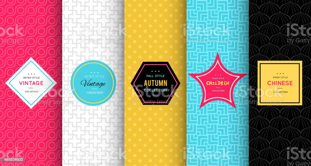 Bright vector seamless patterns