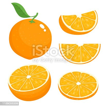 Bright vector set of colorful half, slice and segment of juicy orange. Fresh cartoon oranges on white background.