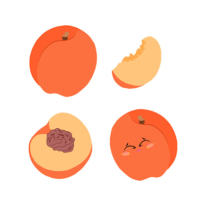 Bright vector set of illustrations of a whole peach, half and slices on a white background in a flat style for design.