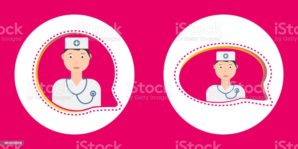 Bright vector speech bubbles with woman doctor character. royalty-free bright vector speech bubbles with woman doctor character stock illustration - download image now