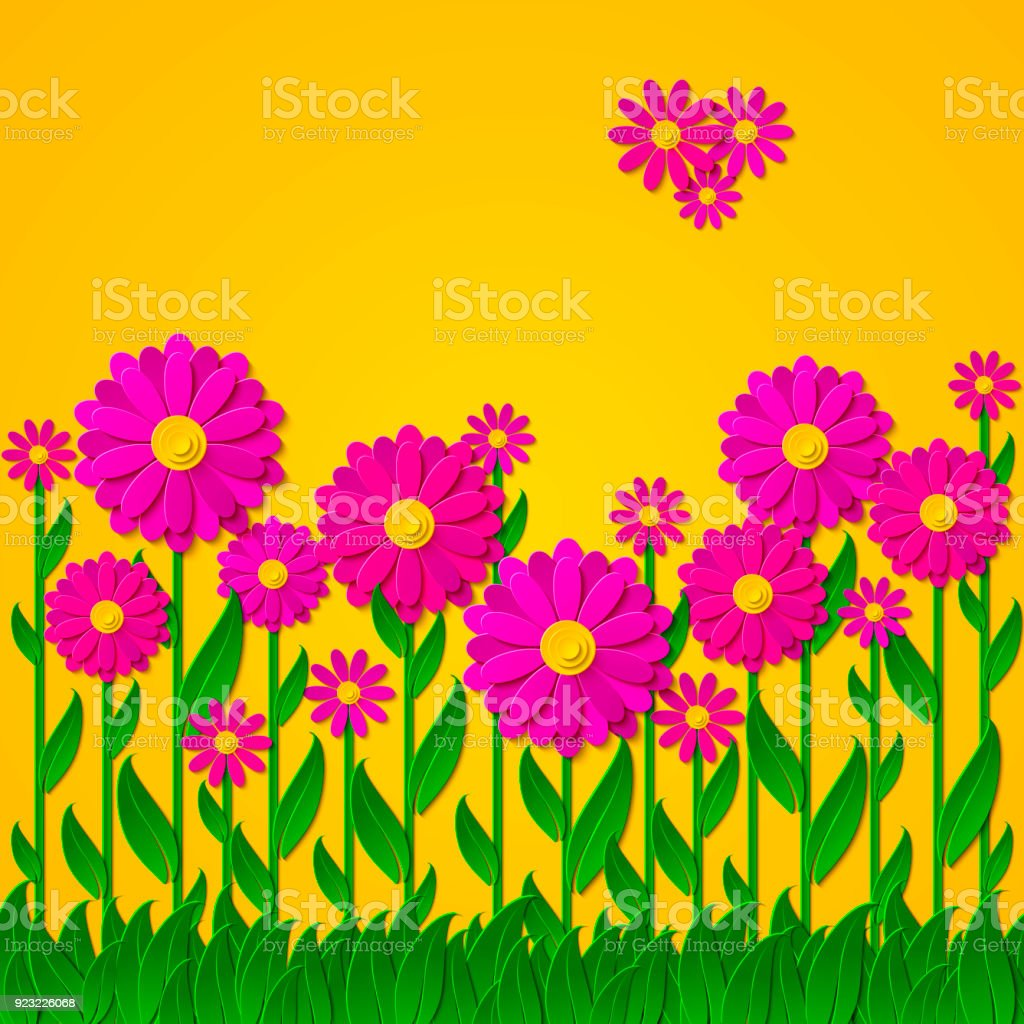 Bright Vector Spring Floral Background With 3d Pink And Purple Cut
